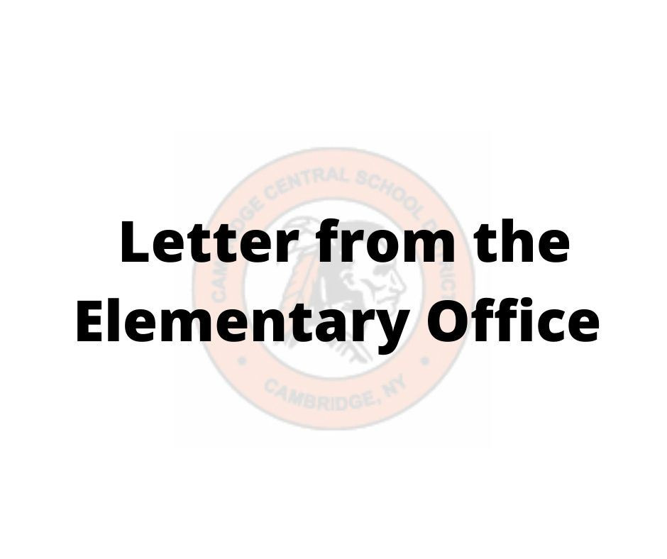 letter from the elementary office